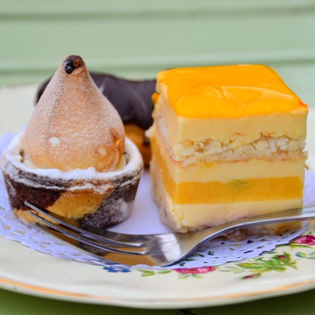 Ménage a trios @madamebrussels69 lemon meringue pie, coconut and passion fruit slice and chocolate eclair #madamebrussels #dessert #sweettooth #cake #instafood #foodgram #instagood #bars #melbourne