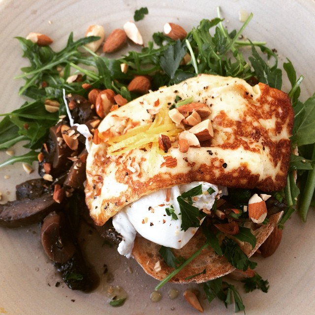 The simple things - Swiss brown mushrooms with haloumi, poached egg and greens.