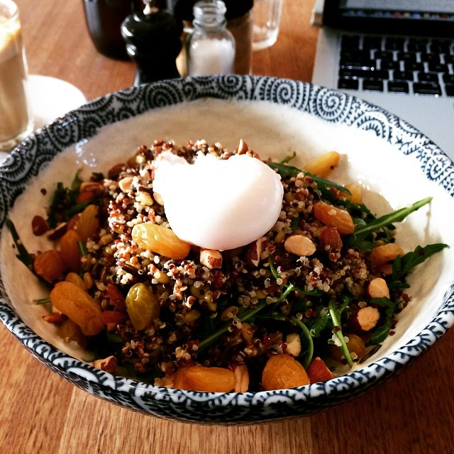 Morning grain salad - quinoa, freekah, wild rice, rocket, toasted almonds, chia soaked raisins, cumin yoghurt and poached egg at Touchwood Richmond #instafood #instagood #quinoa #grains #salad #richmond #melbourne #healthy